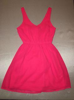 H&M Divided Women's Sun Dress - Hot Pink; Neon Pink - Size 4 - V-Neck #HM #Sundress #SummerBeach