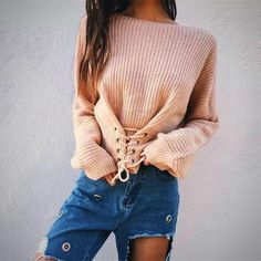402a661e05 Hirsionsan Autumn Lace Up Sweater Women 2017 New Knitted Women Sweaters and  Pullovers Solid Jumper Adjust Waist Bandage Sweater(China)