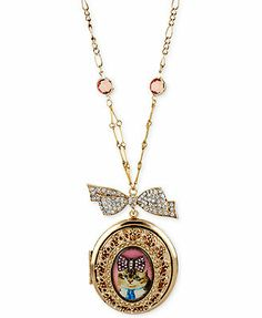 Betsey Johnson Gold-Tone Kitty Cameo Locket Pendant Necklace