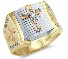 Solid 14k Tri-Color Gold Mens Large Cross Crucifix Ring Sonia Jewels. $579.00