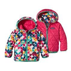 Patagonia Baby Reversible Puff-Ball Jacket - Playtime Pals: Rossi Pink PRYP