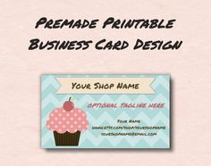 Printable Business Card Design  Cute Cupcake  by HappyPixelDesigns, $5.00