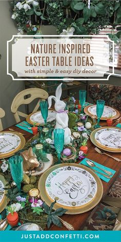 Spring has sprung with this earthy Woodland Easter tablescape! Full of nature inspired decor—mosses, wood elements and greenery—this gorgeous table will be the perfect addition to your Easter celebrations. To contrast the earthy color palette I also added gold, violet and teal accents. I love the unique tactile aesthetic of this Easter table and I hope you do too! #easter #eastertable #easterdecor #eastercrafts #JustAddConfetti