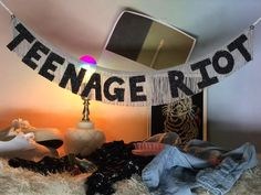 Teenage Riot Glittering Fringe Banner wall hanging by FunCult