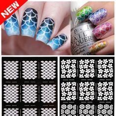 2016 새로운 1 시트 네일 비닐 불규칙한 그리드 패턴 스탬핑 네일 아트 팁 매니큐어 스텐실 네일 중공 스티커 가이드