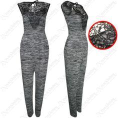 NEW WOMEN GREY JUMPSUIT BLACK CROCHET TOP LADIES TROUSER SUIT LACE LOOK PLAYSUIT | eBay #fashion #womens #clothes #shopping #style
