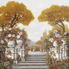 four seasons-autumn on lake Maggiore Poster by Guido Borelli Beautiful Scenery Paintings, Four Seasons Las Vegas, Pintura Exterior, Modern Room Decor, Living Room Pictures, Wall Pictures, Italian Artist, All Poster, Beautiful Wall