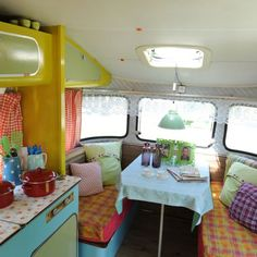"""I think my next project will be re-doing a vintage camper of some type. Here's my inspiration - all from LaGypsyYaya's """"Gypsy Wanderlust"""" . Caravan Vintage, Vintage Rv, Vintage Caravans, Vintage Travel Trailers, Retro Campers, Camper Trailers, Vintage Campers, Retro Trailers, Trailer Interior"""
