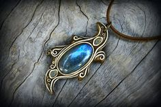 Blue Labradorite gemstone pendant faerie crystal by PeaceElements