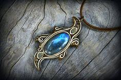 Blue Labradorite gemstone pendant faerie crystal by PeaceElements