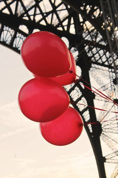 Red Balloons in Paris, Black and White Eiffel Tower, Paris Photography, Architecture, French Home Decor, Red