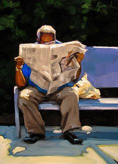 "Daily Paintworks - ""Sun Times"" - Original Fine Art for Sale - © Karin Jurick Painting People, Figure Painting, Painting & Drawing, People Reading, Reading Art, Guache, A Level Art, Art Abstrait, Art Studies"