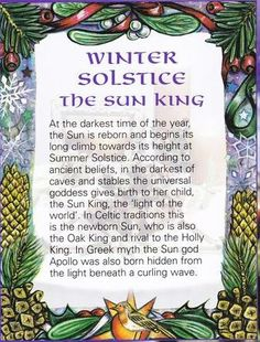 Winter Solstice:  #Winter #Solstice ~ The Sun King.