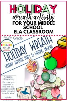 Celebrating the holidays in middle school can be fun and educational with engaging Christmas crafts like this holiday wreath. This middle school Christmas activity includes a holiday writing prompt, holiday acrostic poem, and templates to make the wreath. #christmasinmiddleschool #middleschoolchristmas #christmaswritingprompt