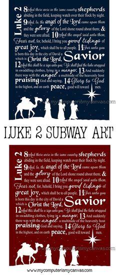 Luke 2 Nativity Subway Art