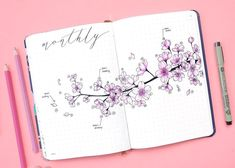 Bullet journal monthly log. Cherry blossoms drawing. | @kohanadiary