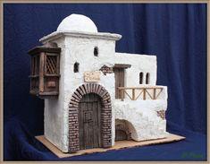 Christmas Crib Ideas, Christmas Nativity, Christmas Decorations, Vitrine Miniature, Miniature Houses, Nativity House, Cardboard Box Crafts, Cement Art, House Template