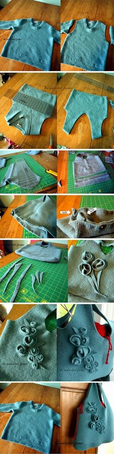 Turn old sweater into a purse: I have done this but not with the flowers, I like that idea! Felting old sweaters and re-purposing is great fun!