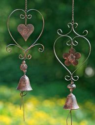 Heart pendant wind chimes bell rust brown shabby chic country style