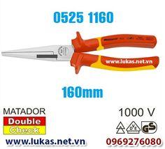 Kìm mỏ nhọn thân dẹp cách điện 160mm, VDE 1000V, 0525 1160, Matador - Germany