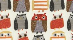 Owls in Bone 328 - WOODWINKED - Dear Stella Design - 1 Yard    Horizontal repeat: 12.25 inches, Vertical repeat: 8.5 inches the red faced owl: