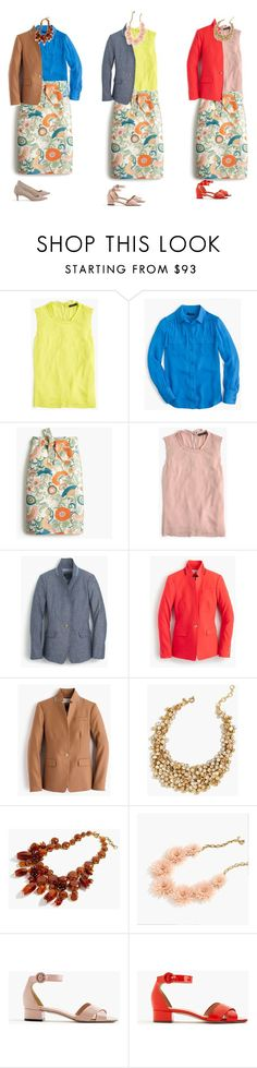"""""""Tie Waist Skirt in Ornate Floral"""" by jsodders ❤ liked on Polyvore featuring J.Crew"""
