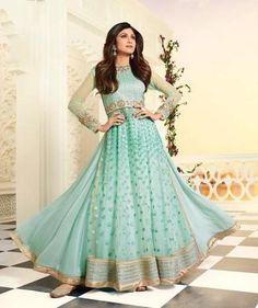 Shilpa Shetty Mint Green & Raw Silk Salwar Kameez ,Indian Dresses - 1