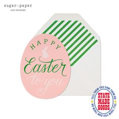 Happy Easter Egg, Sugar Paper LOS ANGELES, CA  Oh, sugar, oh, honey, honey these cards are cute!! Not only are these made in sunny Los Angeles by Sugar Paper on an antique letterpress machine but they're die cut and foil printed to boot. Pale pink with kelly green stripes makes for pretty preppy fun. Want to send some out for Easter? Well, hop to it!  www.SugarPaper.com