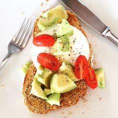 Breakfast Brown Bread Toast Tomato Avocado Egg Healthy Eating