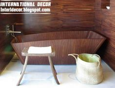 creative and luxury wooden bathtub designs UK with wooden wall design
