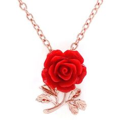 Amazon.com: Sparkly Bride Red Rose Resin Flower Leaves Rose Gold... ($15) ❤ liked on Polyvore featuring jewelry, bridal jewellery, leaf jewelry, rose gold plated jewelry, rose jewellery and red pendant necklace
