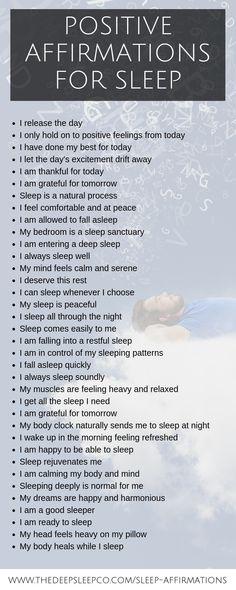 Positive affirmations for sleep