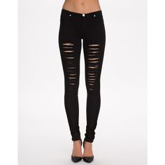 Sally&Circle Must Olivia Rip O Jeggings (44 NZD) ❤ liked on Polyvore featuring pants, leggings, black, bottoms, jeans, womens-fashion, ripped jean leggings, ripped denim leggings, ripped leggings and distressed denim leggings