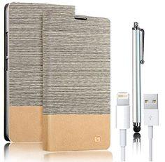 iPhone SE ケース/ iPhone 5 ケース/ iPhone 5S ケースVandot 3 In 1 セット超薄 高級 PUレザー フリップ 手帳型 ビジネス タイプ ケース [ホワイト] 横置きスタンド機能付き USB データケーブル  タッチペン