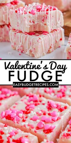 This easy Valentine's Day Fudge recipe has a creamy white chocolate base with a hint of sugar cookie. For more holiday recipes, follow Easy Budget Recipes!
