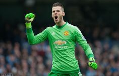 United goalkeeper David de Gea showed his delight following Rashford's goal at the opposite end of the field after 16 minutes