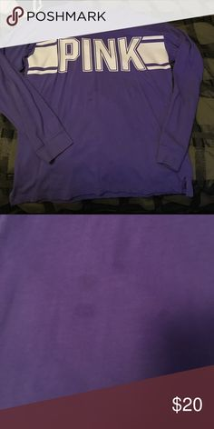 Super soft purple long sleeve 3 little stains but hardly noticeable. Super soft long sleeve white graphic across chest PINK Victoria's Secret Tops Tees - Long Sleeve