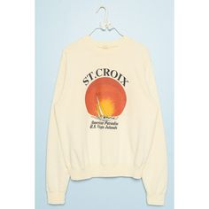 Erica St. Croix Sweatshirt ($40) ❤ liked on Polyvore featuring tops, hoodies, sweatshirts, graphic sweatshirts, graphic tops, brown sweatshirt, crew neck sweatshirts and crew neck pullover