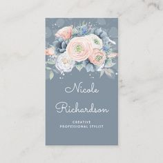 LOVELYWOW studio: products on Zazzle Blue Flowers Bouquet, Peach Flowers, Blue Peach, Dusty Blue, Peach Rose, Wedding Paper, Wedding Cards, Watercolor Business Cards, Gold Business Card