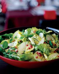 Escarole and Fresh Herb Salad with Apples and Pomegranates Recipe from Food & Wine