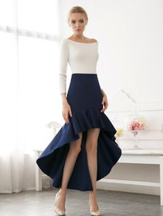 Navy  High Waist High Low Flbala Skirt