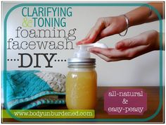 You don't need harsh chemicals to help get clear skin! Check out this DIY all natural clarifying and toning foaming facewash.