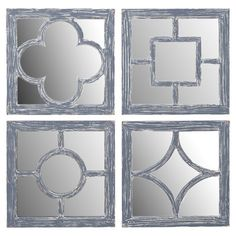 Indoor/outdoor wood wall mirror with geometric overlay.   Product: Set of 4 wall mirrorsConstruction Material: ...