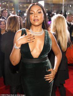 Globe winner: Taraji won a Golden Globe in 2016 for her portrayal of Cookie Lyon on Empire Taraji P Henson, Celebrity Style Casual, Actrices Sexy, Green Velvet Dress, Black Actresses, Celebrity Red Carpet, Ebony Beauty, Beautiful Black Women, Swagg