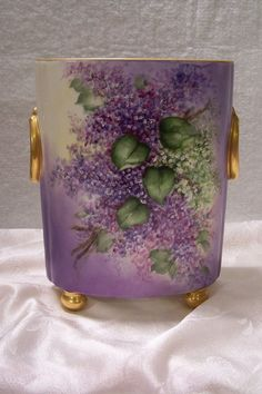 """Antique Limoges France Footed Cachepot adorned w/ """"Spring Violet & White Lilacs"""" hand painted One-of-a-Kind Art Ware piece created by the Late 19th Century Artist 'Buenger'"""