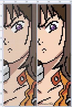 Diane from SevenDeadlySins Easy Pixel Art, Pixel Art Grid, Anime Pixel Art, Art Anime, Melty Bead Patterns, Beading Patterns, Cross Stitch Designs, Cross Stitch Patterns, Modele Pixel Art
