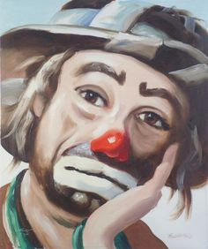 signed by Emmett Kelly Jr circus clown 24x20 original oils on canvas painting by RUSTY RUST / 14237 SOLD to Citrus Springs, FL buyer.