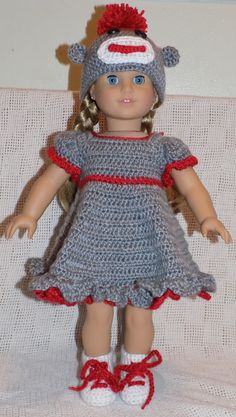 American 18 Doll Clothes Sock Monkey by CrochetAngelDesigns