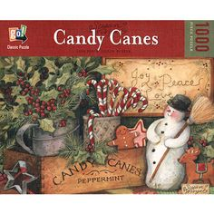 """This Candy Canes 1,000-piece puzzle by Susan Winget is sure to satisfy your sweet tooth. Your mouth will water as you assemble this puzzle featuring candy canes, cookies and holly. This 1,000-piece jigsaw puzzle measures 19 5/8"""" x 29 1/2"""" when complete and is intended for ages 12 and up.  $14.99  http://www.calendars.com/Christmas-Puzzles/Susan-Winget-Candy-Canes-1000-Piece-Puzzle/prod200900010660/?categoryId=cat490054=cat490054#"""