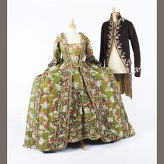 Bonhams. Circa 1750s French court robe of silk damask with a woven floral and ribbon design worked in shades of green, pink and cream to a background of shot green and pink, with a sack back, underskirt, and a later made stomacher out of a piece of the same fabric, weighted sleeves, drawstrings over the panniers sides, with fly braiding and small ribbon flowers decorating the robe and underskirt, the lace on the neckline is of a later date.